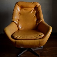 Swivel Chair Egg Dark Brown Leather Dining Chairs Retro Vintro