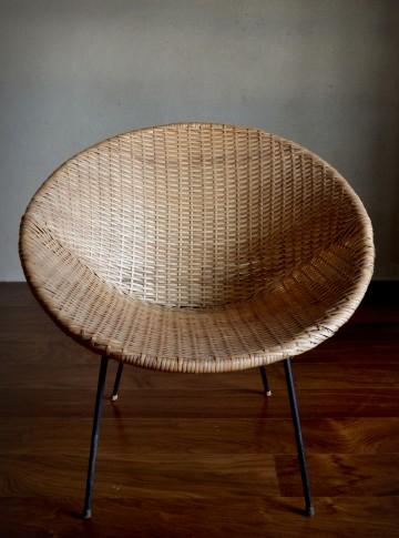 1960s Rattan Wicker Tub Chair Vintro