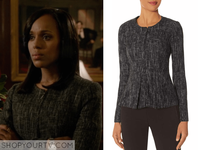 17b13fde7b01 SCANDAL: SEASON 4 EPISODE 2 OLIVIA'S ZIP-UP TWEED JACKET