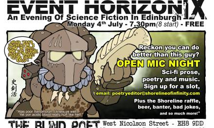 Event Horizon 9 – Science Fiction evening at the Blind Poet, 4th July 2016