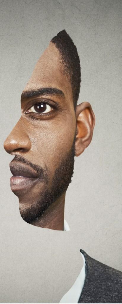 Optical illusion portrait of a man