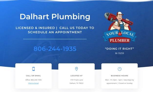 New Website for Dalhart Plumbing in Dalhart, TX