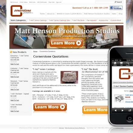 Ecommerce site for Cornerstone Quotations