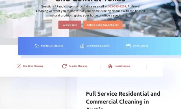 Website Design for Primal Cleaning in Cedar Park