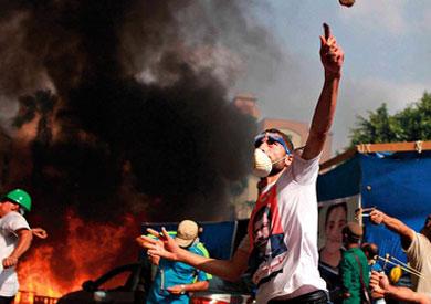 متظاهرون في ميدان رابعة العدوية -تصوير: مصعب الشامي