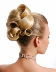 classic barrel curls updo wedding