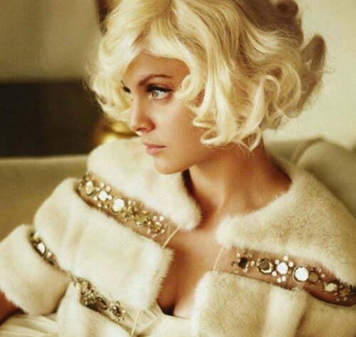 Short blonde hair curly bob hairstyle photos