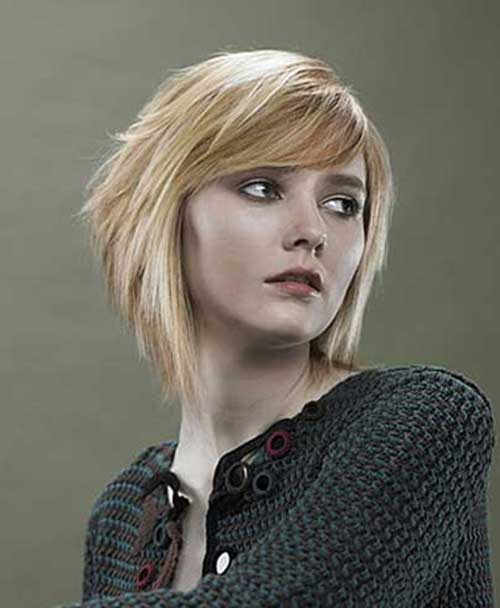 Short Stacked Wedge Side Swept Chic Bob Style