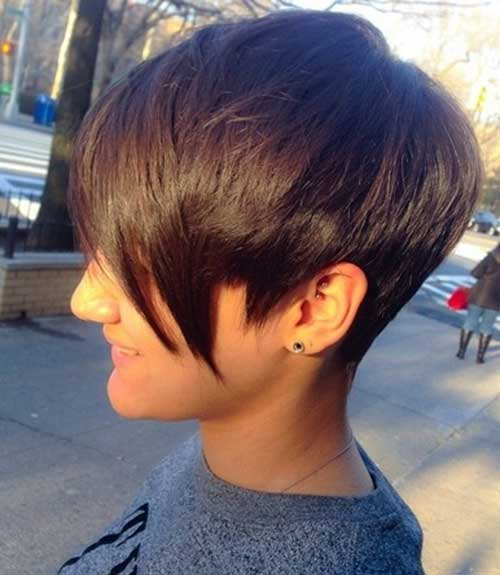 Trendy Short Pixie Haircut with Long Bangs
