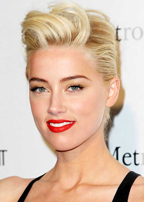 Amber Heard Slicked Back Pixie Haircut