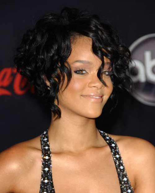 Rihanna Curly Bob Hairstyle