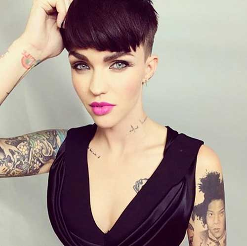 Ruby Rose- pixie haircut with bangs and shaved sides