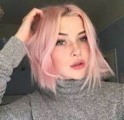 pale pink short hairstyles
