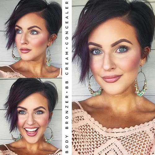 Layered Short Brunette Hair for Round Faces