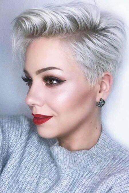Grey Short Hairtyle 2018, Pixie Short Women Hair