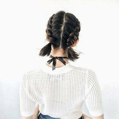 Two French Braids Short Hair