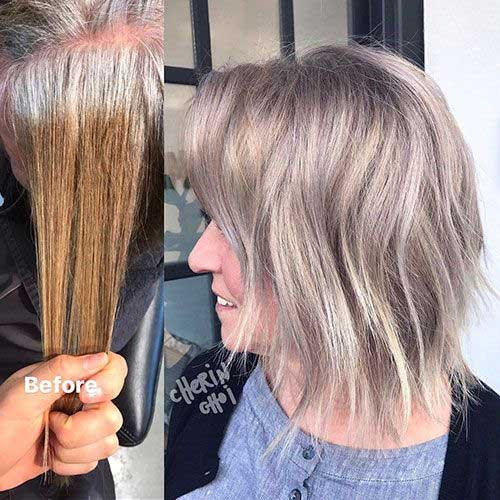 Ash Blonde Ombre Short Hair