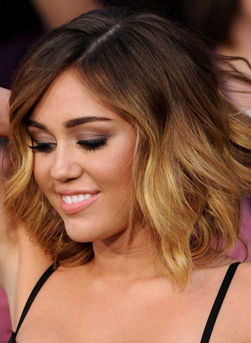 Miley Cyrus Bob With Side Bangs Ombre Hairdo