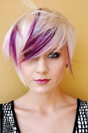 Purple and Blonde Long Pixie Haircut