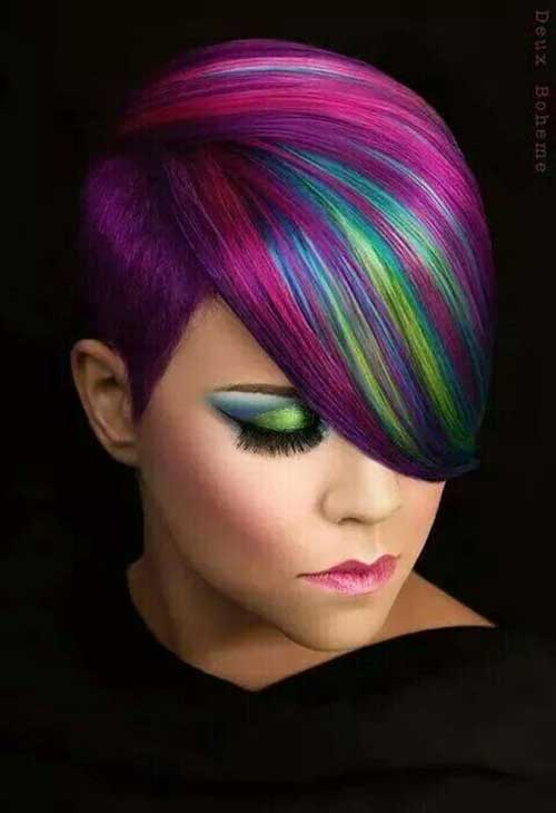 Short Hairstyles With Color Streaks
