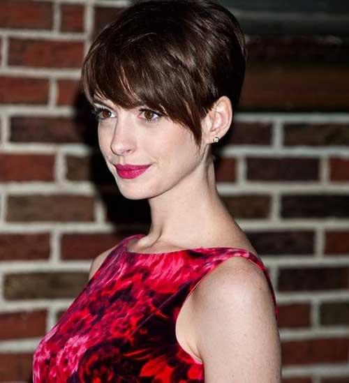 Anne Hathaway Long Pixie Cut