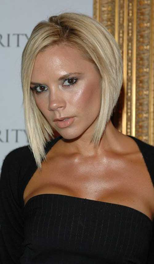 Victoria Beckham Blonde Inverted Bob Hair