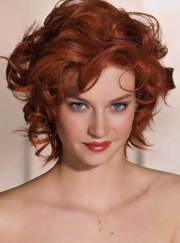 red short curly hair