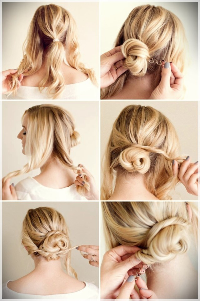 DIY: Fast and easy hairstyles - styling ideas with instructions - DIY fast and easy hairstyles 15