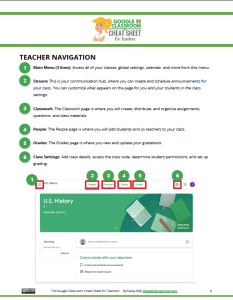 Google Classroom Reference Guide for Teachers