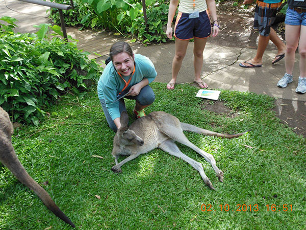 Chelsea Powers with a kangaroo