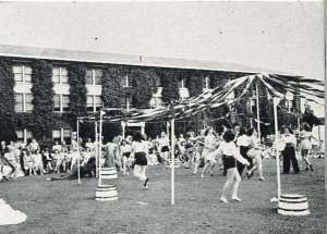 Students around the May Pole