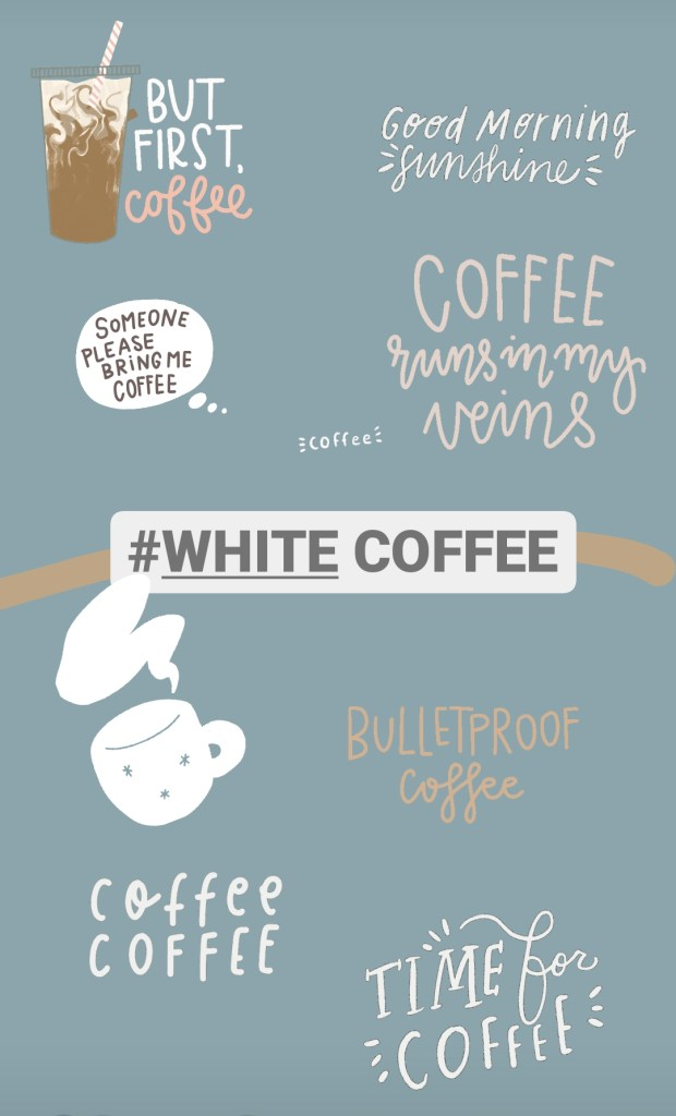 white coffee instagram sticker