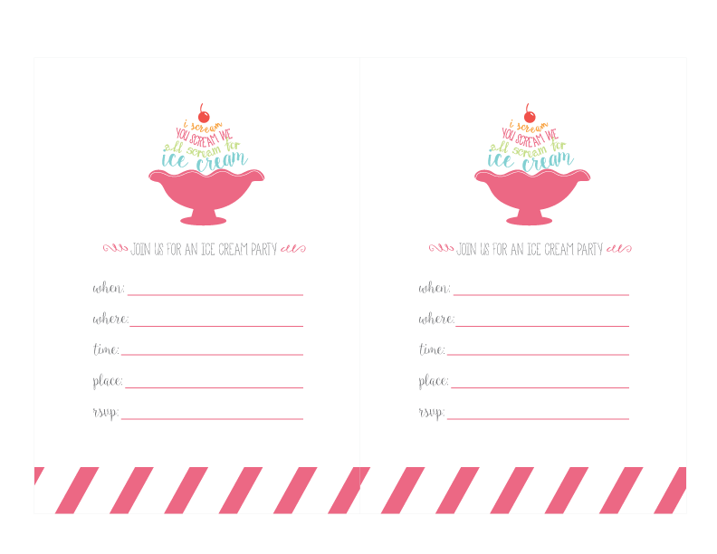 ice cream printables invitations print short stop designs