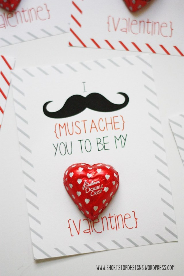 Mustache Valentines Day card