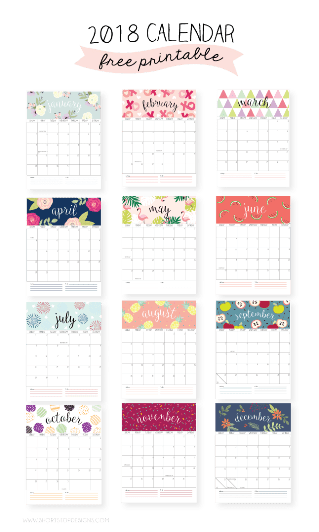 2018 Printable Calendar Short Stop Designs