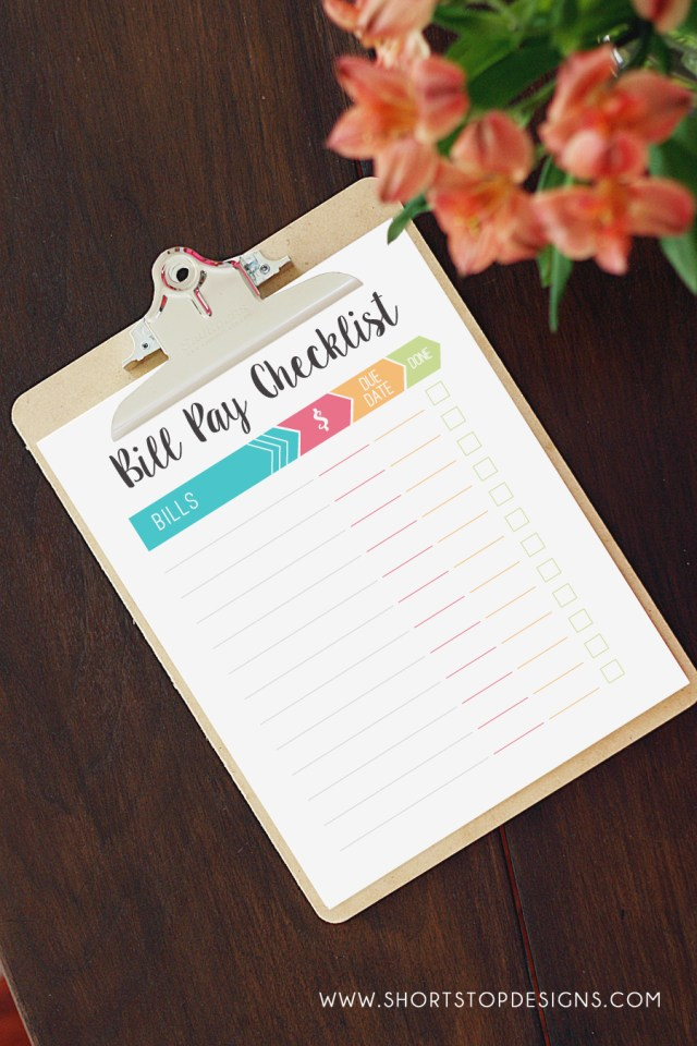 Monthly Bill Pay Checklist Printable