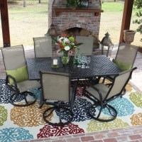 Attractive 7 Piece Patio Dining Set With Swivel Chairs ...