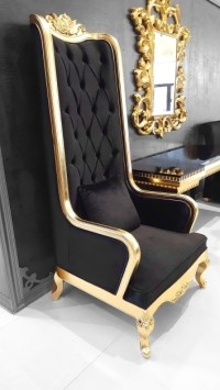 Black And Gold High Backed Throne Chair Photos 95 | Chair ...