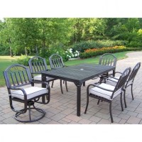 Wonderful 7 Piece Patio Dining Set With Swivel Chairs ...