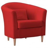 Red Swivel Accent Chair With Arms Living Room Leather ...