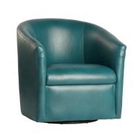 Draper Swivel Barrel Chair Modern Swivel Blue Leather Club ...