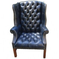 Navy Blue Leather Club Chair Tufted Wing Chair For Sale