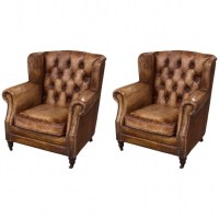Pair Of English Library Distressed Leather Club Chair For ...