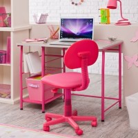 Girls Office Chair Purple And White Floral Swivel Desk ...