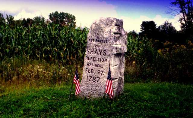 This monument marks the spot of the final battle of Shays's Rebellion, in Sheffield, Massachusetts.