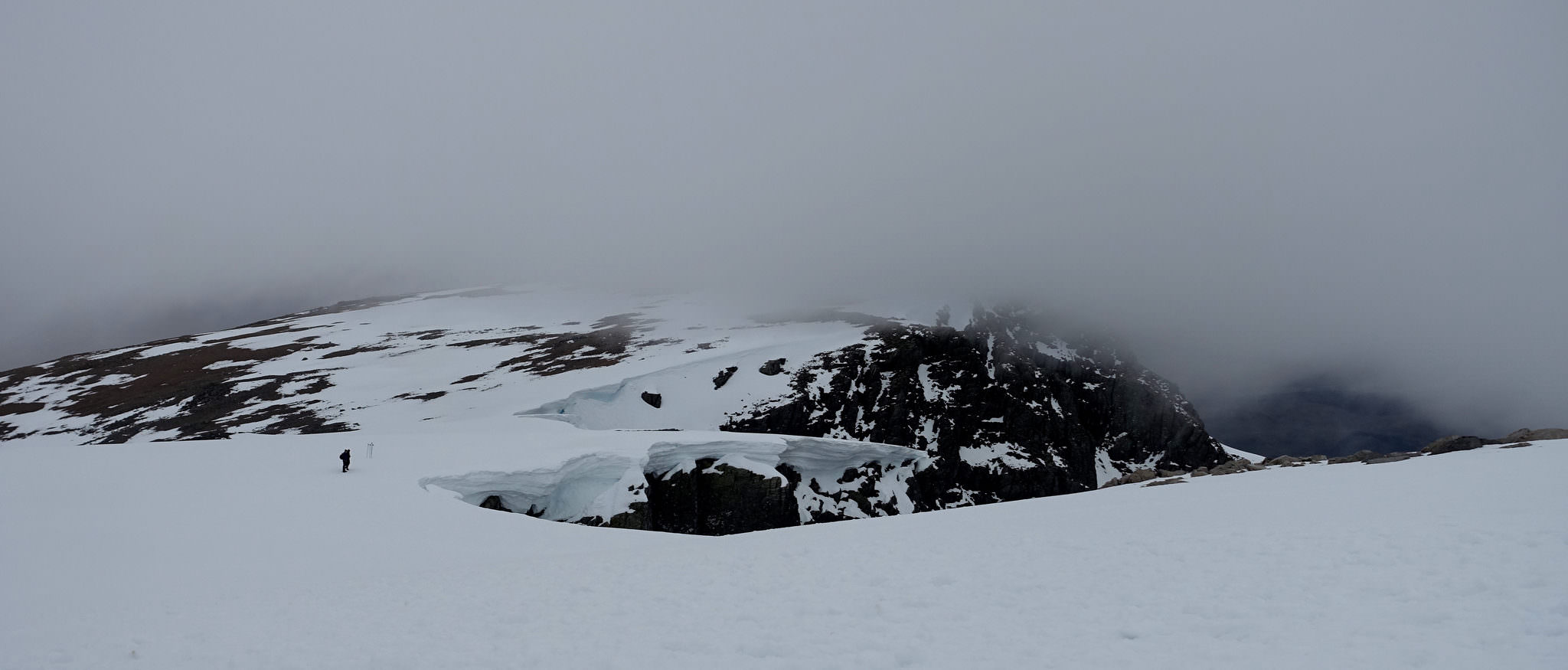 Snow and clouds near the summit of Ben Nevis
