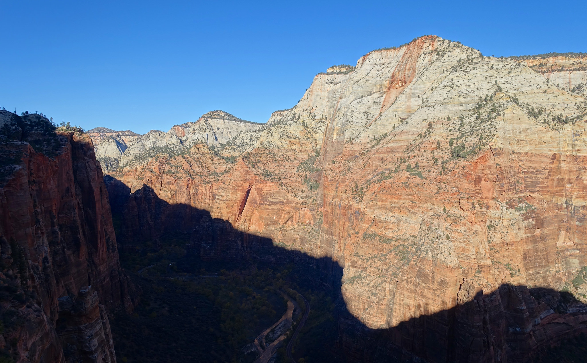 Looking North from Angels Landing with the Virgin River below