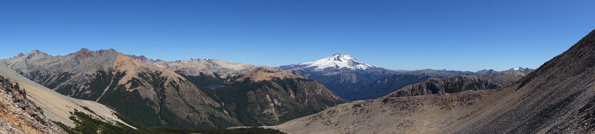 Panorama from ridge above Laguna Negra, including Lago CAB and Monte Tronador