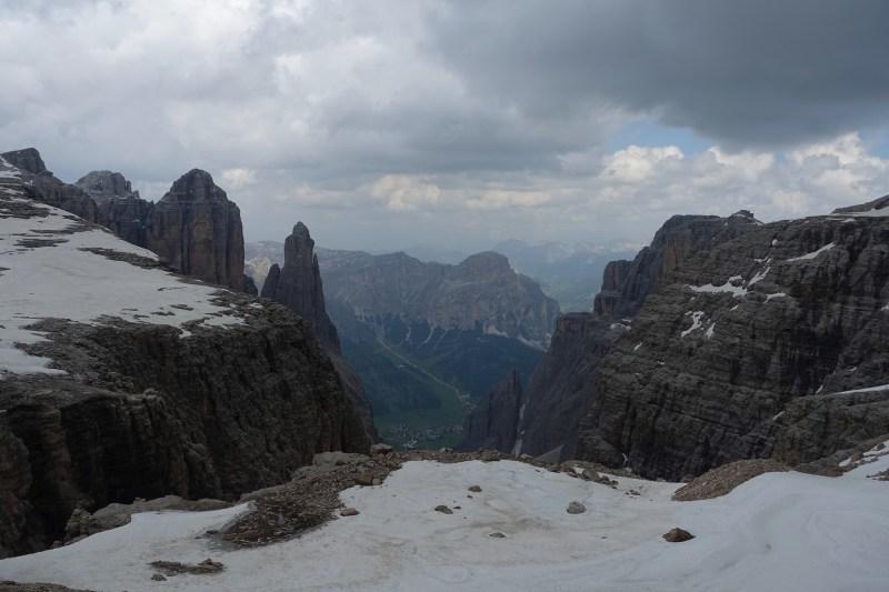 Looking down toward Colfosco from the Sella Massif