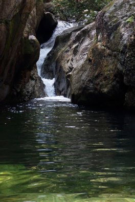 a small waterfall flows into Emerald Pool, White Mountain National Forest